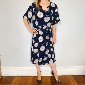 Navy Dress with Peony Pattern